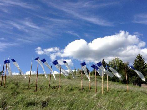 silk & satin fabric art installation blowing in the wind