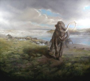 Image of painting with Ice Age mastodon along the Columbia River