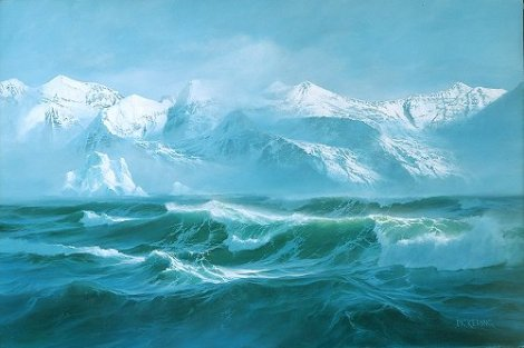 painting of turbulent waves of Great Missoula Flood during most recent Ice Age