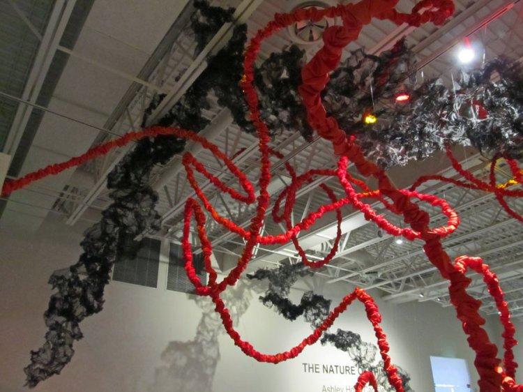 ceiling view of Terra Ignis art installation by Gerri Sayler at Nicolaysen Art Museum